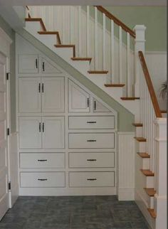 WOW - this is pretty and efficient.  Architectural Detail - Under stair storage
