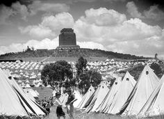 Tent city providing housing for people. Margaret Bourke White, Trek, South Africa, 19th Century, Louvre, City, Building, People, Buildings