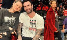 Adam Levine and pregnant wife Behati Prinsloo take in LA Lakers game