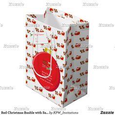 Red Christmas Bauble with Santa's & Sleigh Medium Gift Bag