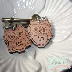 Laser Cut & Engraved Owl Keyrings by TheLaserBoutique on Etsy