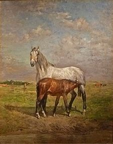 Alfred Verwee - Wikipedia Animal Painter, Animal Paintings, Barbizon School, Prince, His Travel, Antwerp, Horse Art, French Artists, Belgium