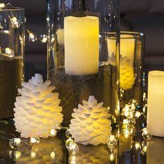 CARLA White Christmas Fir Cone LED Candle