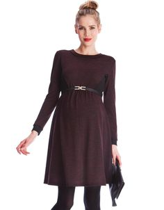 Soft space dyed fabric   Stylish black panels   Above the knee   Long sleeves with contrast cuffs    In a sophisticated burgundy shade, our Space Dye Maternity Dress is a stylish choice for the office or an evening out. Crafted in soft stretch fabric with smart black stretch panels to the bust; it offers a flattering fit and flare shape, which is perfect for before, during and after pregnancy. Finishing just above the knee, this essential maternity dress features long sleeves with contrast…