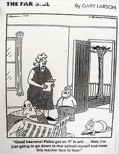 """""""The Far Side"""" by Gary Larson. Teacher Cartoon, Cartoon Jokes, Funny Cartoons, Funny Comics, Cartoon Images, Teacher Stuff, Far Side Cartoons, Far Side Comics, Gary Larson Far Side"""