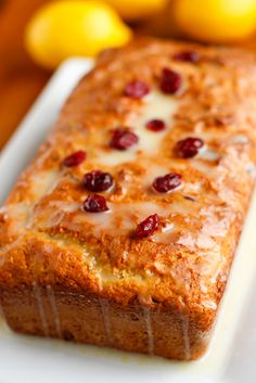 Cranberry Lemon Bread Recipe -- this tender and tangy lemon bread recipe is surprisingly low in fat thanks to the addition of Greek yogurt to the batter!