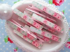 Shabby Chic Pink Floral Clothespins-shabby chic, clothespins, floral, pink, green, office, crafts, supplies, home, jewelry, laundry, blue
