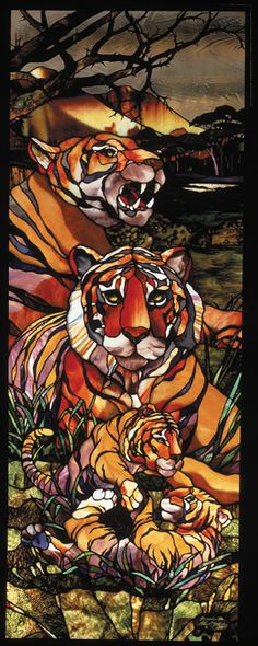Master Artisan Lecture Series with Peter McGrain July 2014 Stained Glass Paint, Stained Glass Designs, Stained Glass Patterns, Stained Glass Windows, Sandblasted Glass, Kiln Formed Glass, Tiger Art, Tiffany Glass, Glass Animals