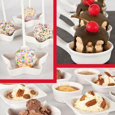 Derrite chocolate y sirve sobre una torrecita de galletas.   Cubre masmelos con chocolate blango y decora con grageas.  Añade frutos secos a los helados.