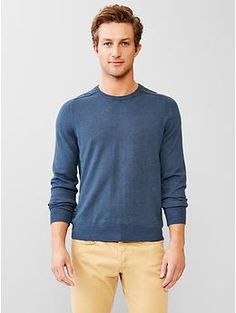 Cotton cashmere crew sweater