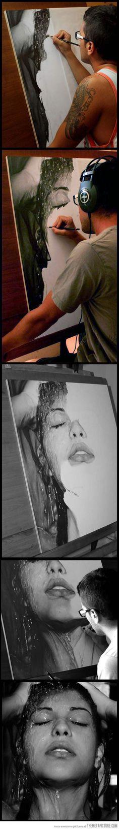"""Sensazioni"" - Diego Fazio, progressive studio artwork {contemporary artist beautiful #hyperreal female head woman face photorealism portrait b+w drawing} <3 http://diegokoi.deviantart.com/art/Sensazioni-331828679?q=gallery:diegokoi/25937209=0"