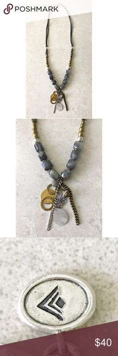 """Silpada N3244 Ethereal Necklace Sterling Silver This is a new, never worn, display only, 100% authentic Silpada N3244 Ethereal Necklace!  It features .925 Sterling Silver, Brass, Labradorite, Pyrite, Shell and Crystal embellishments on a dark gray leather cord.  30"""" long.  This gorgeous necklace retailed for $159.00. Silpada Jewelry Necklaces"""