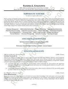 this sample substitute teacher resume is an example of a professionally written resume developed for a substitute teacher wanting to further her career in