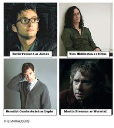 #harrypotter Moony, Wormtail, Padfoot and Prongs from: http://hiddlebug.tumblr.com/post/48732959091/the-marauders-starring-david-tennant-as-james