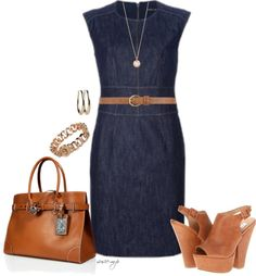 Finally a cute way to wear my denim dress! The brown makes it casual :)