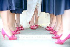 Photography by Samantha McGranahan, The Roxy Studio. Wedding photography, pink shoes, bridesmaid shoes, brides shoes, blue bridesmaid dresses, bridesmaids