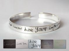 Personalized Cuff Bracelet - Actual Handwriting Jewelry- Signature Bracelet - Handwritten Bracelet- Engraved Cuff- Rose/ Gold Plated
