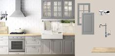 FAKTUM Küche mit LIDINGÖ mit Türen/Schubladen/Glastüren grau und ÅKERBY Arbeitsplatte Eiche