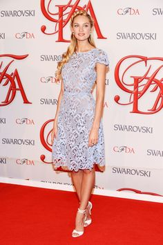 Candice Swanepoel (in Valentino) at the CFDA Awards in NYC, June 4th