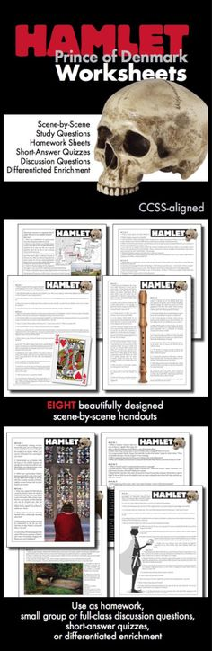 Use this visually stunning package of scene-by-scene questions covering William Shakespeare's timeless tale, The Tragedy of Hamlet, Prince of Denmark, to pull your students into the text and inspire them to think deeply about Shakespeare's themes.