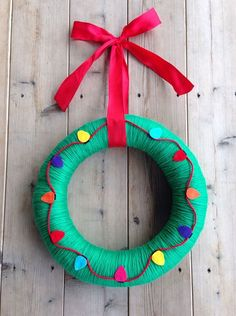 Holiday Christmas Green Yarn Wreath with Felt by TheArtsyBee