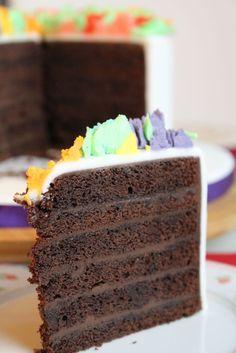 Anschnitt des köstlichen Chocolate Sponge Cakes