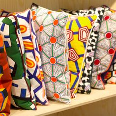 Pillows made from Nathalie du Pasquier's textiles @WRONG FOR HAY (London)