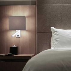 dormitorio iluminado con aplique de pared cub con iluminacin led pantalla en forma rectangular y punto