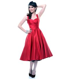 Deep Red Satin Happily Ever After Pleated Swing Dress - Unique Vintage