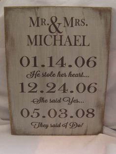 Personalized Rustic Wedding or Anniversary Sign First Date, Engagement & Weddingâ?¦