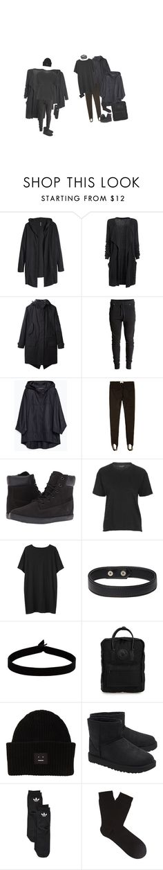 """Shades Of Black"" by irondeficient ❤ liked on Polyvore featuring H&M, rag & bone, Zara, Hollister Co., Timberland, Topshop, Organic by John Patrick, The Flexx, Fjällräven and Acne Studios"