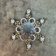 Steampunk Christmas Time Snowflake Ornament