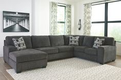 Ballinasloe - Sectional with Chaise by Signature Design by Ashley. Get your Ballinasloe - Sectional with Chaise at Urban Underpriced, Indianapolis IN furniture store. Grey Sectional, 3 Piece Sectional, Living Room Sectional, My Living Room, City Living, Large Sectional, Living Room Seating, Living Area, Living Spaces