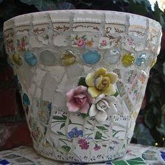 Pinterest Gardening with Pots | Mosaic garden pot, by Ada | mosaics, china dishes