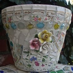 Pinterest Gardening with Pots | Mosaic garden pot, by Ada | mosaics, china dishes