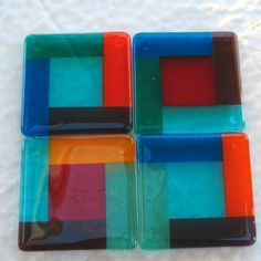 Fused Glass Coaster Set of Four Contempo Rainbow Fused Glass Plates, Fused Glass Art, Glass Dishes, Contemporary Coasters, Mosaic Wall, Mosaic Mirrors, Glass Fusing Projects, Stained Glass Birds, Glass Coasters