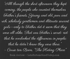 "Father's secret, from Corrie ten Boom's ""The Hiding Place"". Come read a book review of this inspirational story at LetsDoSomeGoodToday.com."