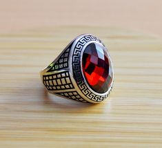 Excited to share the latest addition to my #etsy shop: Mens Handmade Ring, Turkish Handmade Silver Men Ring, Ottoman Mens Ring, Ruby Ring, Men Ring, Gift for Him, 925k Sterling Silver Ring #jewellery #ring #silver #yes #boys #red #ruby #birthday