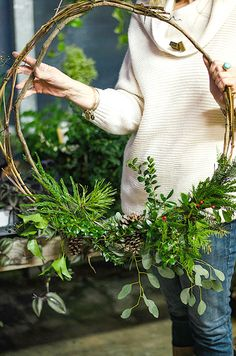 Natural Grapevine Wreath with greenery