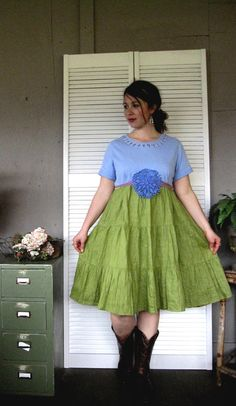 upcycled clothing L XL Bohemian dress funky von lillienoradrygoods, $62.50