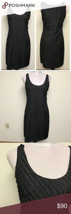 "NWT EILEEN FISHER Black Ruffled Silk Dress Sz 4 Sleeveless ruffled silk dress by Eileen Fisher.   Brand new, never worn, tags still attached.   Measurements Pit to Pit: 18"" Sleeve: n/a Length: 39""  Material: 100% silk  Wash/care instructions: Dry clean   Made in India. Eileen Fisher Dresses Mini"