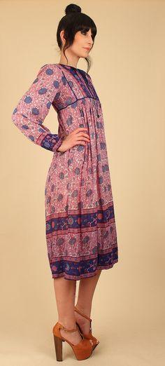 ViNtAgE Indian Cotton Dress 70's Gauze Cotton by hellhoundvintage