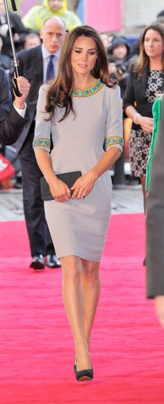 The Duchess of Cambridge attended the UK premiere of African Cats wearing the PF12 Wool Crepe Tailoring Pleat Pencil Dress. | Matthew Williamson News