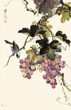 Chinese Brush Painting: grapes & bird