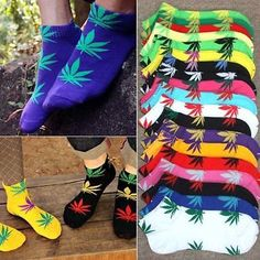 Weed Leaf Unisex Short Ankle Socks Not Huf Plantlife Skateboard Marijuana Colors