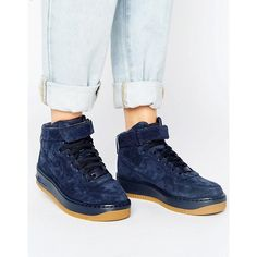 Nike Air Force 1 Upstep Hi Premium Trainers In Navy Suede ($94) ❤ liked on Polyvore featuring shoes, sneakers, high top shoes, navy suede shoes, suede high top sneakers, high-top sneakers and suede sneakers