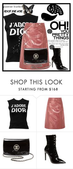 """#patentleather"" by sindhuja-coolgirl ❤ liked on Polyvore featuring Christian Dior, Bottega Veneta, Chanel, Jeffrey Campbell, polyvorecommunity, polyvoreeditorial, polyvorefashion and polyvoreset"