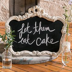 Wedding Decor Ornate Chalk Board Sign in Cream | Available for hire from www.thesmallthings.co | Melbourne based wedding hire company