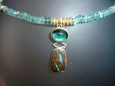 14kt gold, boulder opal, paraiba tourmaline, apatite