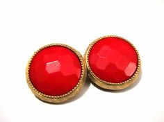 Vintage Heavy Gold Tone and Faceted Red Glass Round Clip by ditbge, $12.50